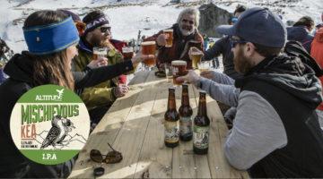 people drinking altitude brewing beer in snow
