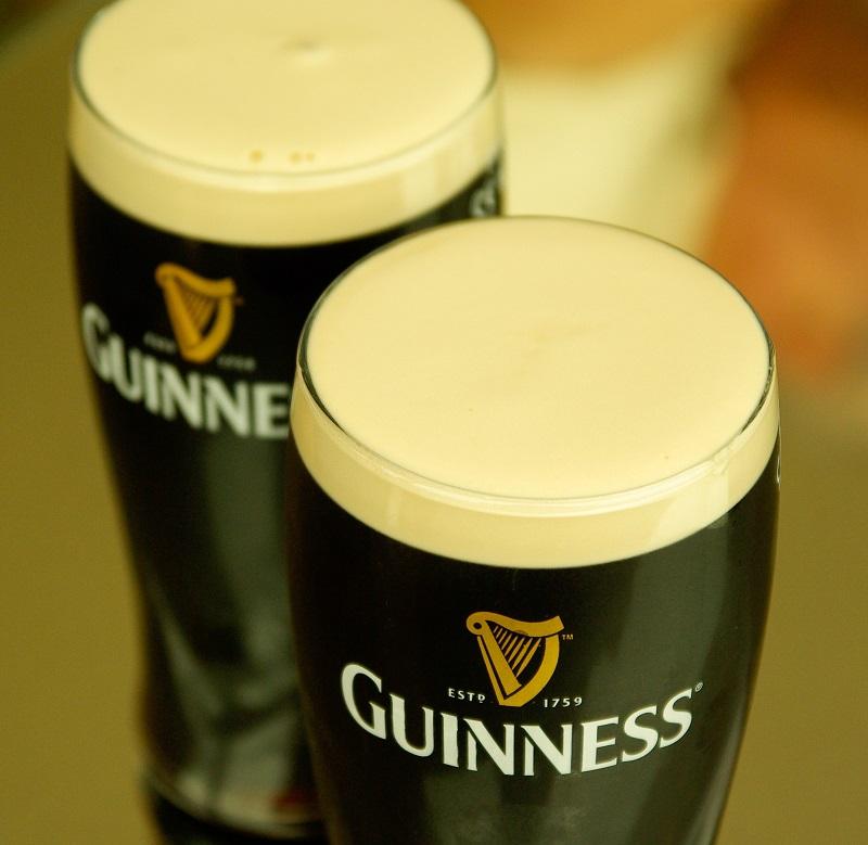 two glasses of Guinness