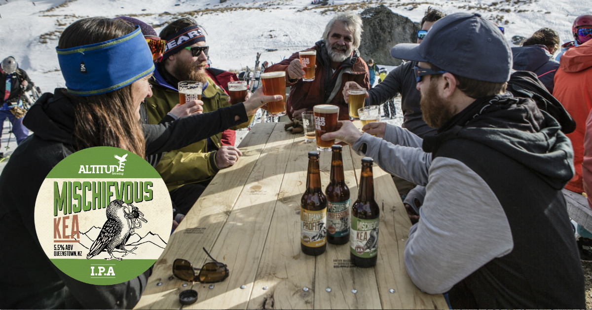 people drinking altitude brewing beer in snow